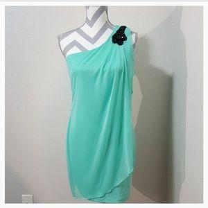 Sweet Storm Green One Shoulder Dress